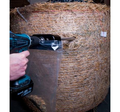 Sonda para recolectar muestras de heno, fardo de forraje o biomasa para fines de ensayo